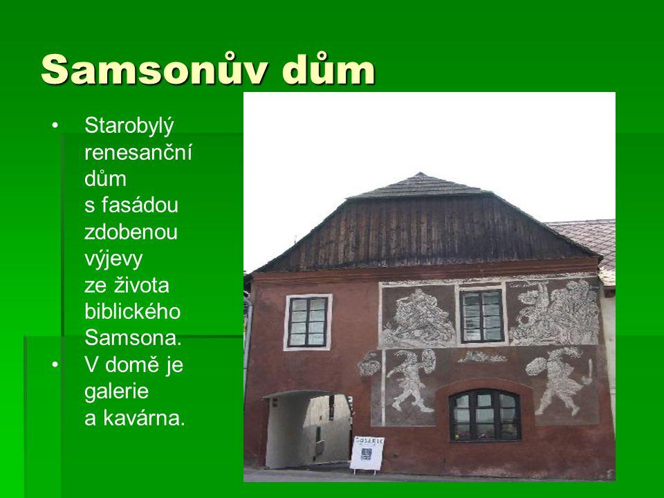 Samsonův dům Starobylý renesanční dům s fasádou zdobenou výjevy ze života biblického Samsona. V domě je galerie a kavárna.