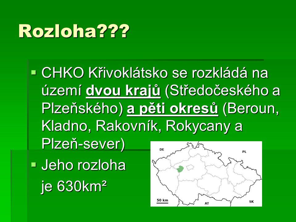 Rozloha???  CHKO Křivoklátsko se rozkládá na území dvou krajů (Středočeského a Plzeňského) a pěti okresů (Beroun, Kladno, Rakovník, Rokycany a Plzeň-