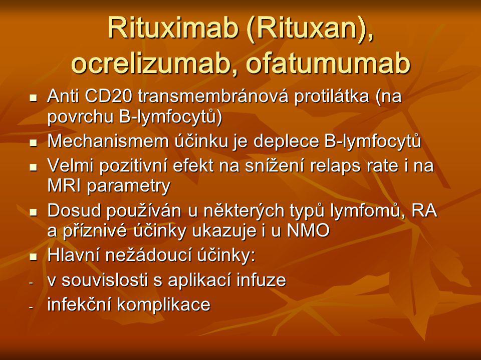 Rituximab (Rituxan), ocrelizumab, ofatumumab Anti CD20 transmembránová protilátka (na povrchu B-lymfocytů) Anti CD20 transmembránová protilátka (na po