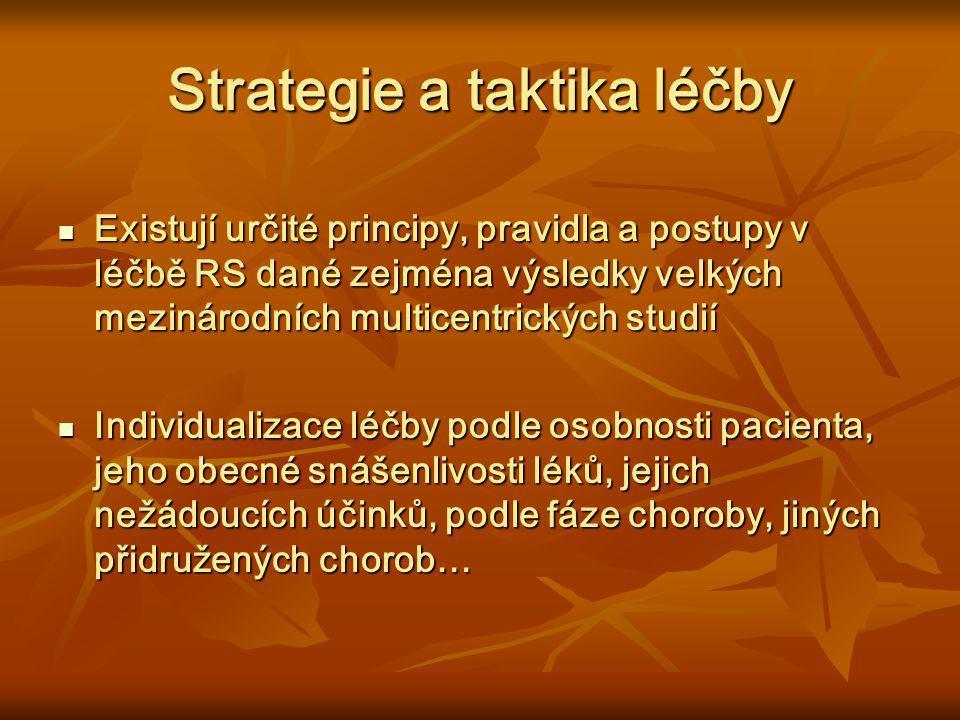 Strategie a taktika léčby Existují určité principy, pravidla a postupy v léčbě RS dané zejména výsledky velkých mezinárodních multicentrických studií