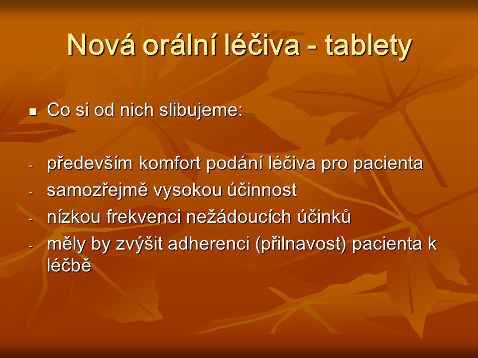 Nová orální léčiva - tablety Co si od nich slibujeme: Co si od nich slibujeme: - především komfort podání léčiva pro pacienta - samozřejmě vysokou úči
