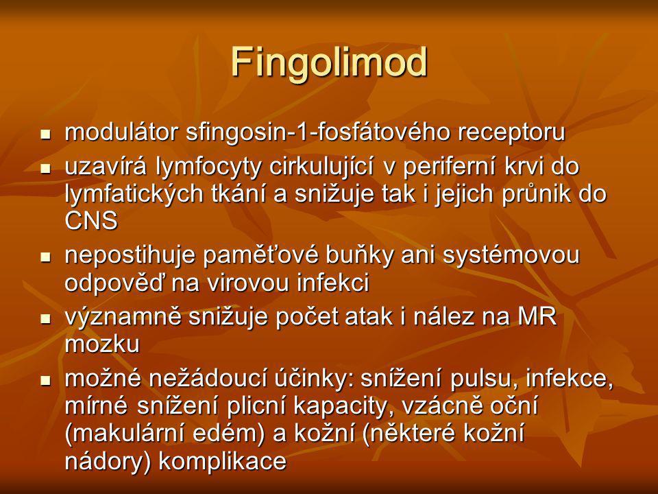 Fingolimod modulátor sfingosin-1-fosfátového receptoru modulátor sfingosin-1-fosfátového receptoru uzavírá lymfocyty cirkulující v periferní krvi do l