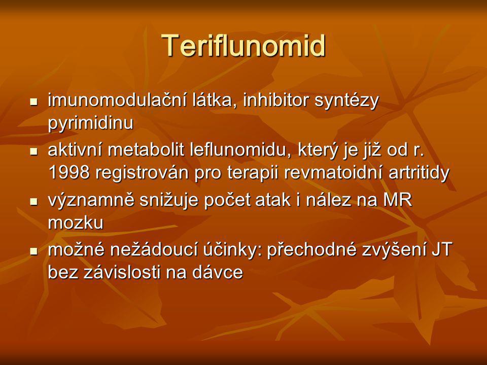 Teriflunomid imunomodulační látka, inhibitor syntézy pyrimidinu imunomodulační látka, inhibitor syntézy pyrimidinu aktivní metabolit leflunomidu, kter