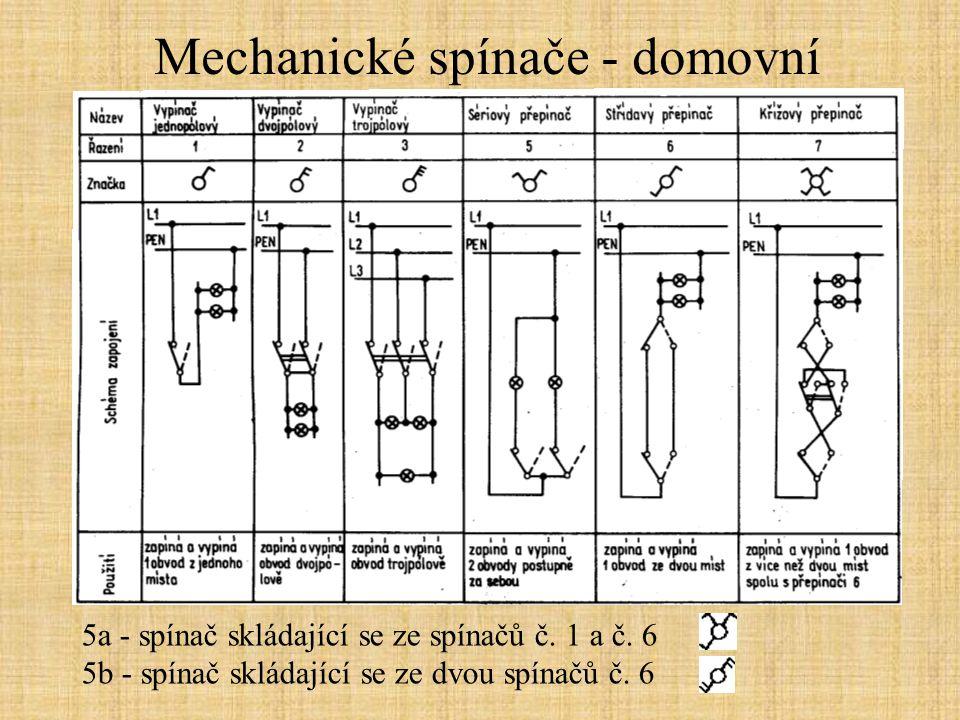 Mechanické spínače - domovní 5a - spínač skládající se ze spínačů č. 1 a č. 6 5b - spínač skládající se ze dvou spínačů č. 6
