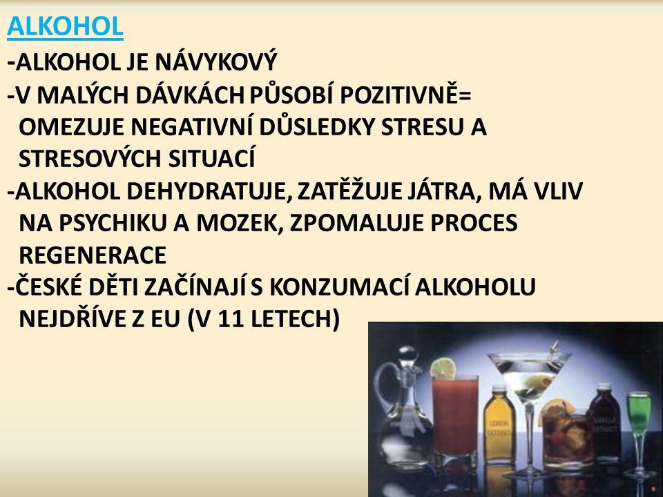 ALKOHOL - ALKOHOL JE NÁVYKOVÝ -V MALÝCH DÁVKÁCH PŮSOBÍ POZITIVNĚ= OMEZUJE NEGATIVNÍ DŮSLEDKY STRESU A STRESOVÝCH SITUACÍ -ALKOHOL DEHYDRATUJE, ZATĚŽUJ