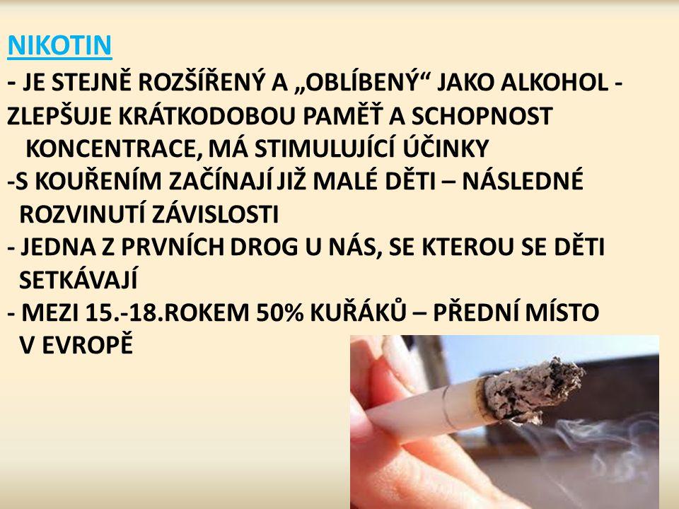 """NIKOTIN - JE STEJNĚ ROZŠÍŘENÝ A """"OBLÍBENÝ"""" JAKO ALKOHOL - ZLEPŠUJE KRÁTKODOBOU PAMĚŤ A SCHOPNOST KONCENTRACE, MÁ STIMULUJÍCÍ ÚČINKY -S KOUŘENÍM ZAČÍNA"""