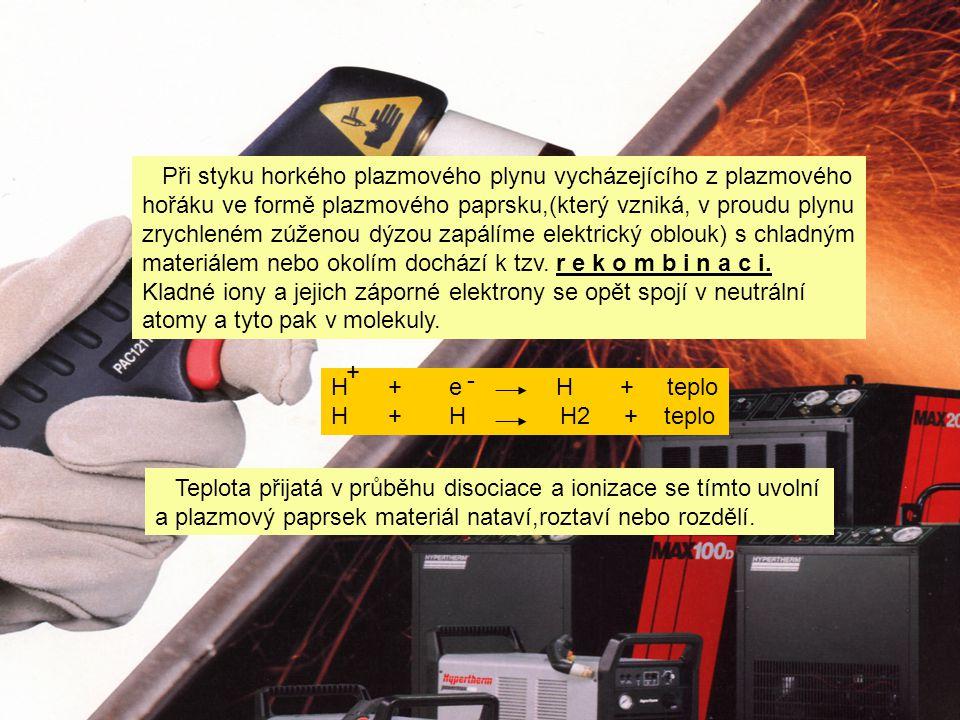 Při styku horkého plazmového plynu vycházejícího z plazmového hořáku ve formě plazmového paprsku,(který vzniká, v proudu plynu zrychleném zúženou dýzou zapálíme elektrický oblouk) s chladným materiálem nebo okolím dochází k tzv.