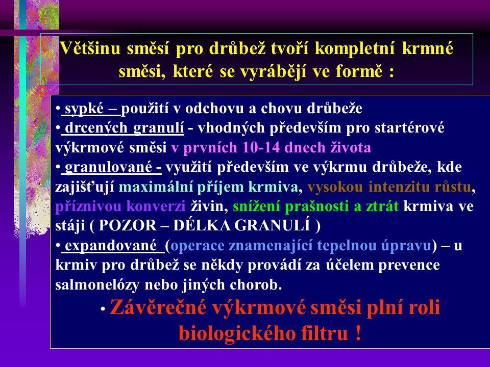 Základní sortiment krmných směsí : K ( K1, K2 ) KZK ( KZK-M ) N ( N1,N2,NP ) BR ( 1, 2, 3 ) KT, KR (1,2,3,4) KCH (1,2), VKCH ( 1,2) HU, VH (1,2) BŽ, Z