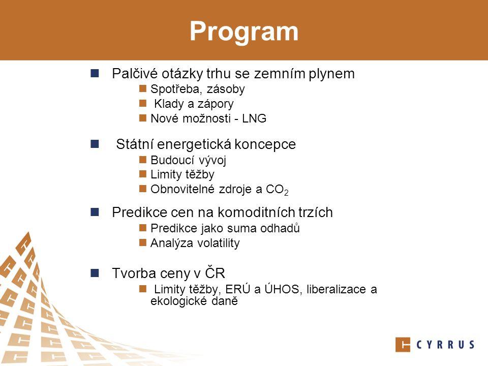 Program Palčivé otázky trhu se zemním plynem Spotřeba, zásoby Klady a zápory Nové možnosti - LNG Státní energetická koncepce Budoucí vývoj Limity těžby Obnovitelné zdroje a CO 2 Predikce cen na komoditních trzích Predikce jako suma odhadů Analýza volatility Tvorba ceny v ČR Limity těžby, ERÚ a ÚHOS, liberalizace a ekologické daně