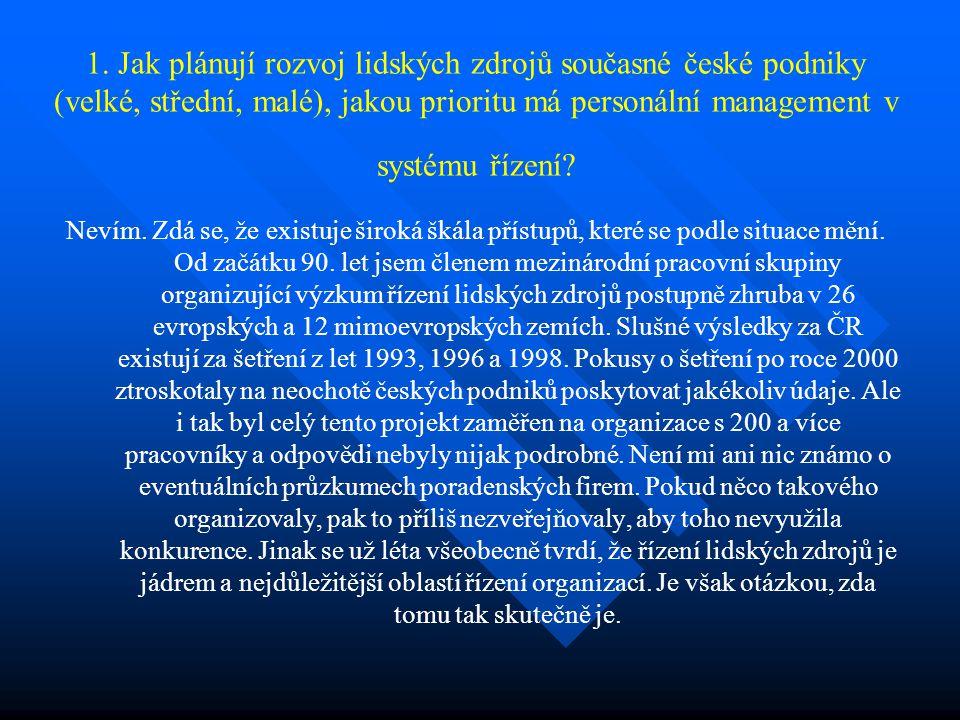 1. Jak plánují rozvoj lidských zdrojů současné české podniky (velké, střední, malé), jakou prioritu má personální management v systému řízení? Nevím.