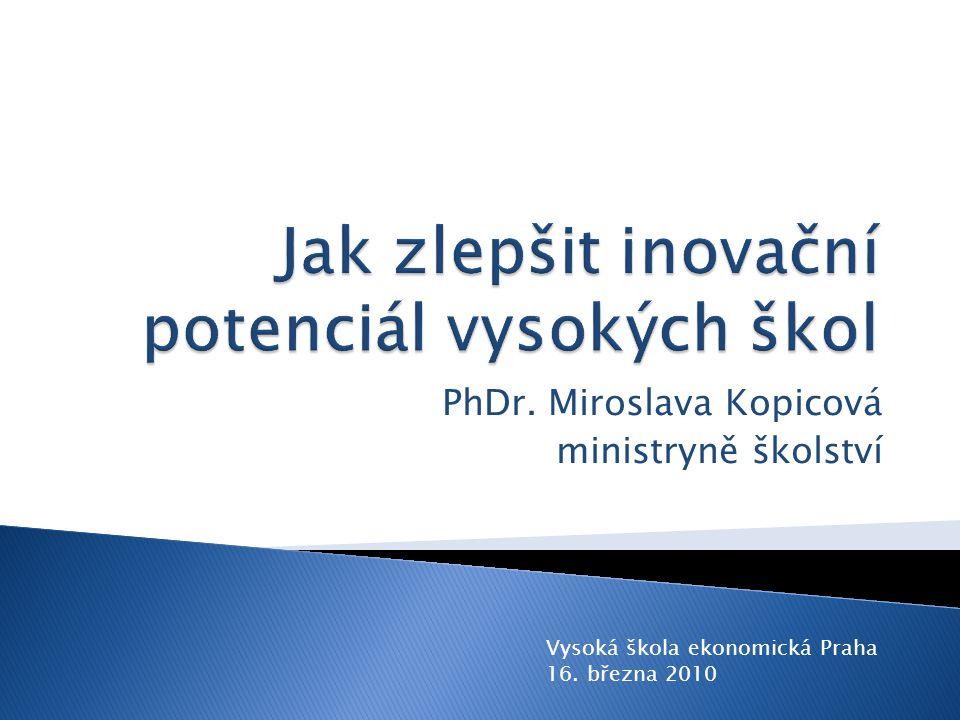 PhDr. Miroslava Kopicová ministryně školství Vysoká škola ekonomická Praha 16. března 2010