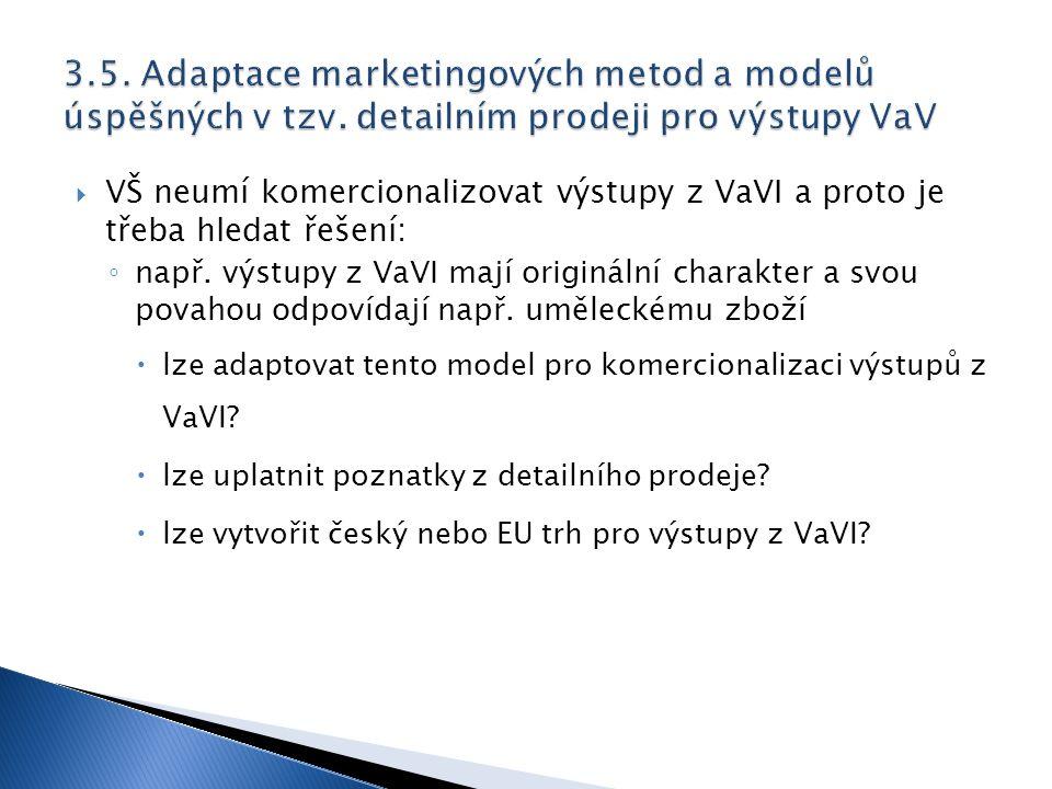  VŠ neumí komercionalizovat výstupy z VaVI a proto je třeba hledat řešení: ◦ např. výstupy z VaVI mají originální charakter a svou povahou odpovídají