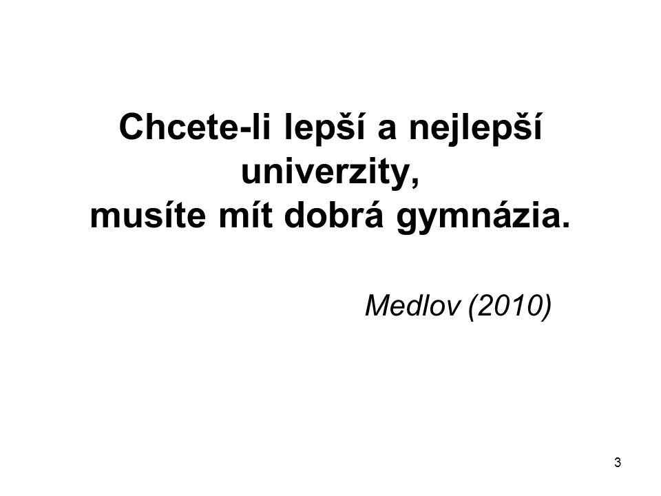 3 Chcete-li lepší a nejlepší univerzity, musíte mít dobrá gymnázia. Medlov (2010)