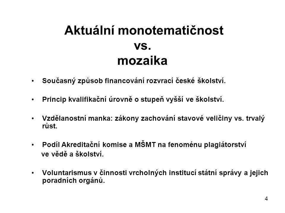 4 Aktuální monotematičnost vs. mozaika Současný způsob financování rozvrací české školství.