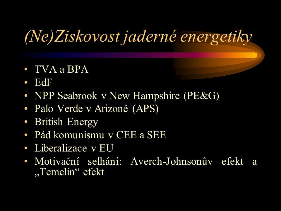 """(Ne)Ziskovost jaderné energetiky TVA a BPA EdF NPP Seabrook v New Hampshire (PE&G) Palo Verde v Arizoně (APS) British Energy Pád komunismu v CEE a SEE Liberalizace v EU Motivační selhání: Averch-Johnsonův efekt a """"Temelín efekt"""