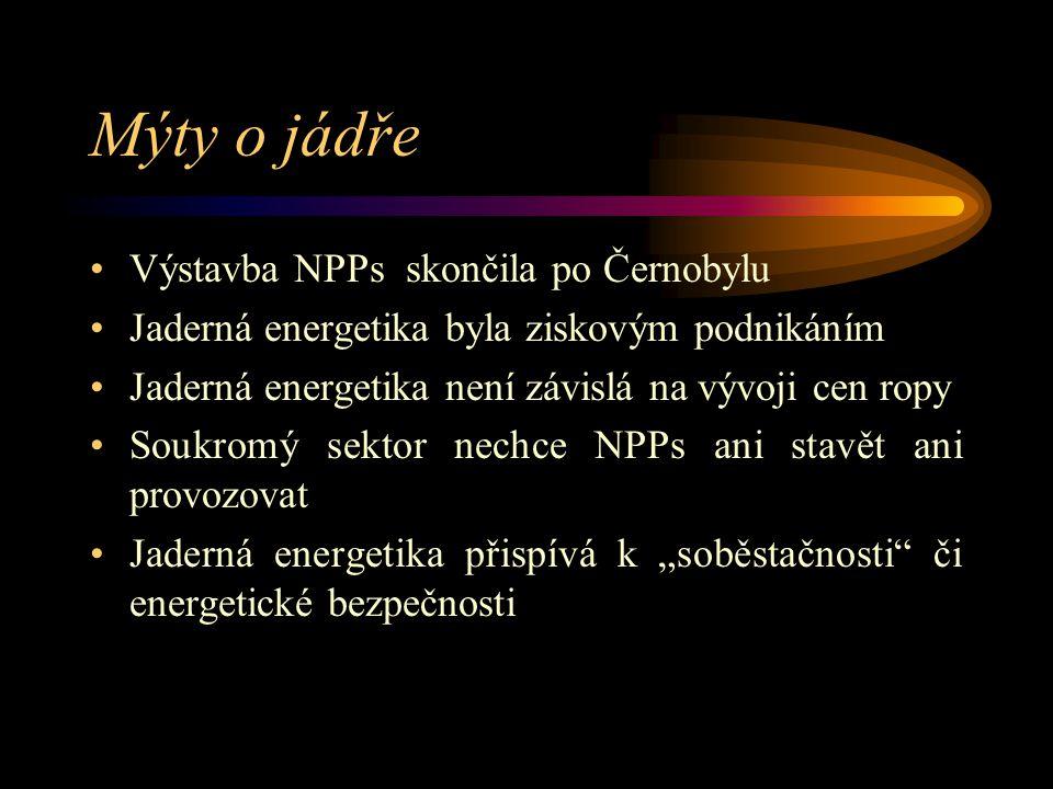 """Mýty o jádře Výstavba NPPs skončila po Černobylu Jaderná energetika byla ziskovým podnikáním Jaderná energetika není závislá na vývoji cen ropy Soukromý sektor nechce NPPs ani stavět ani provozovat Jaderná energetika přispívá k """"soběstačnosti či energetické bezpečnosti"""