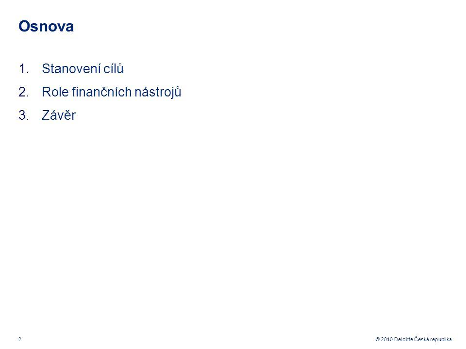 2 © 2010 Deloitte Česká republika Osnova 1.Stanovení cílů 2.Role finančních nástrojů 3.Závěr