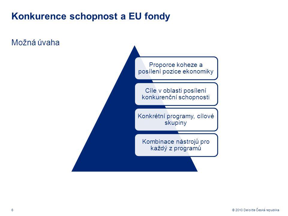 6 © 2010 Deloitte Česká republika Konkurence schopnost a EU fondy Možná úvaha Proporce koheze a posílení pozice ekonomiky Cíle v oblasti posílení konkurenční schopnosti Konkrétní programy, cílové skupiny Kombinace nástrojů pro každý z programů