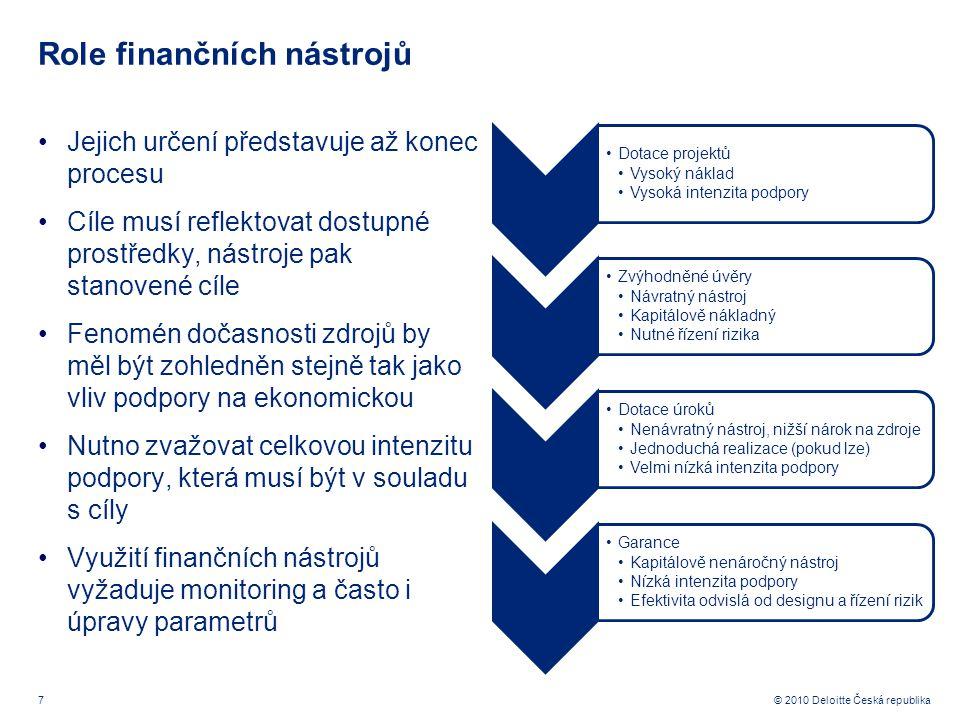 7 © 2010 Deloitte Česká republika Role finančních nástrojů Jejich určení představuje až konec procesu Cíle musí reflektovat dostupné prostředky, nástroje pak stanovené cíle Fenomén dočasnosti zdrojů by měl být zohledněn stejně tak jako vliv podpory na ekonomickou Nutno zvažovat celkovou intenzitu podpory, která musí být v souladu s cíly Využití finančních nástrojů vyžaduje monitoring a často i úpravy parametrů Dotace projektů Vysoký náklad Vysoká intenzita podpory Zvýhodněné úvěry Návratný nástroj Kapitálově nákladný Nutné řízení rizika Dotace úroků Nenávratný nástroj, nižší nárok na zdroje Jednoduchá realizace (pokud lze) Velmi nízká intenzita podpory Garance Kapitálově nenáročný nástroj Nízká intenzita podpory Efektivita odvislá od designu a řízení rizik