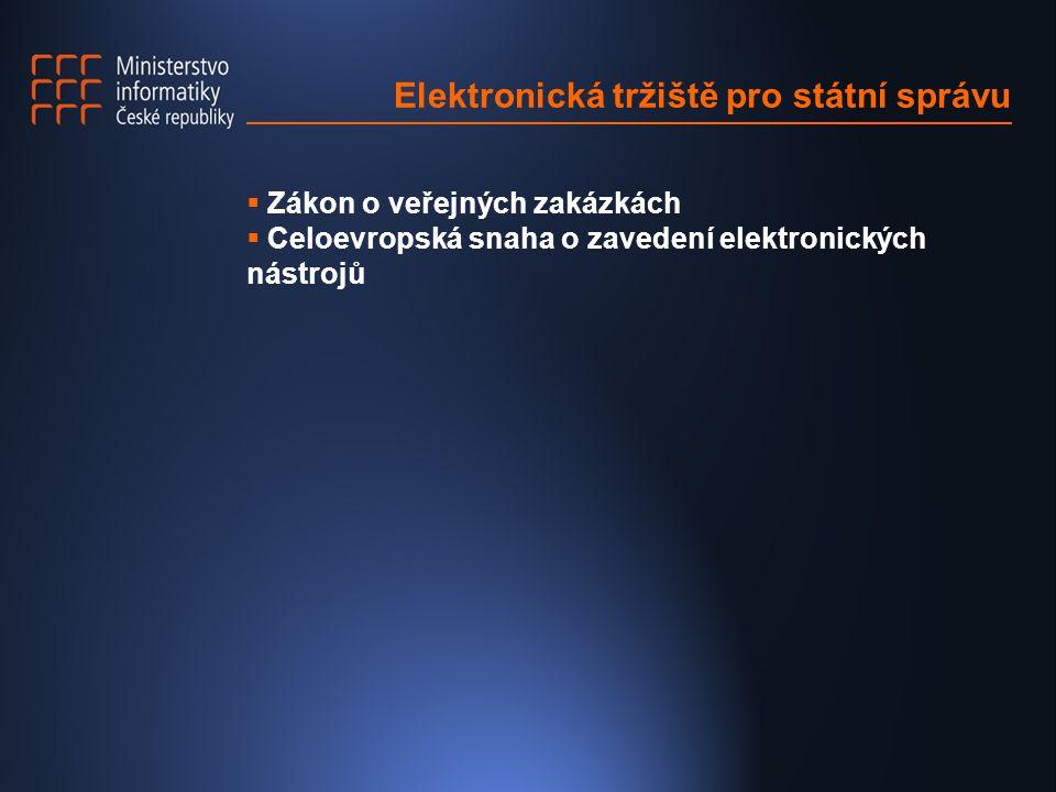 Elektronická tržiště pro státní správu  Zákon o veřejných zakázkách  Celoevropská snaha o zavedení elektronických nástrojů