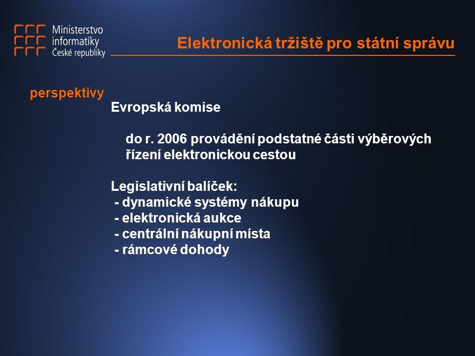 Elektronická tržiště pro státní správu Evropská komise do r. 2006 provádění podstatné části výběrových řízení elektronickou cestou Legislativní balíče