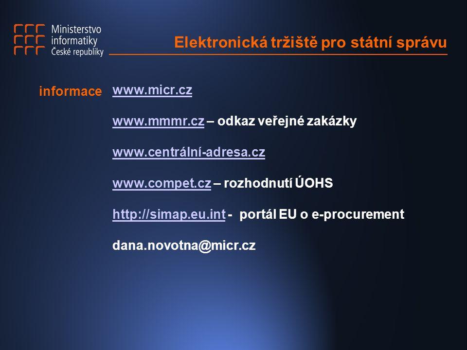 Elektronická tržiště pro státní správu www.micr.cz www.mmmr.cz – odkaz veřejné zakázkywww.mmmr.cz www.centrální-adresa.cz www.compet.cz – rozhodnutí ÚOHSwww.compet.cz http://simap.eu.int - portál EU o e-procurementhttp://simap.eu.int dana.novotna@micr.cz informace