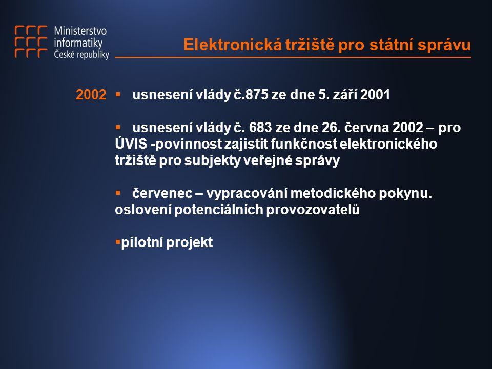 Elektronická tržiště pro státní správu  usnesení vlády č.875 ze dne 5. září 2001  usnesení vlády č. 683 ze dne 26. června 2002 – pro ÚVIS -povinnost