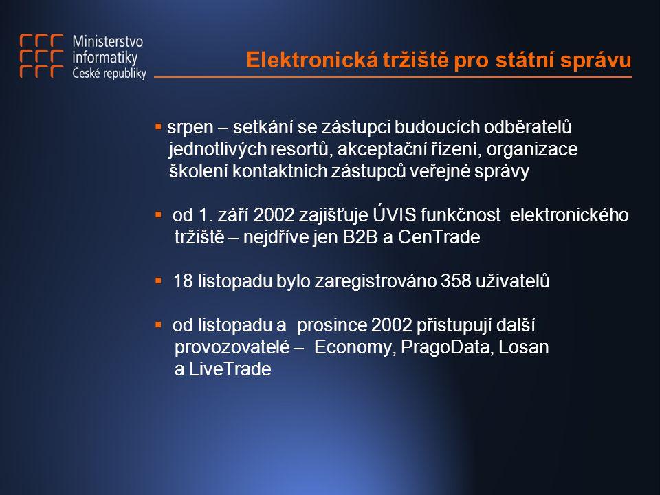 Elektronická tržiště pro státní správu  srpen – setkání se zástupci budoucích odběratelů jednotlivých resortů, akceptační řízení, organizace školení