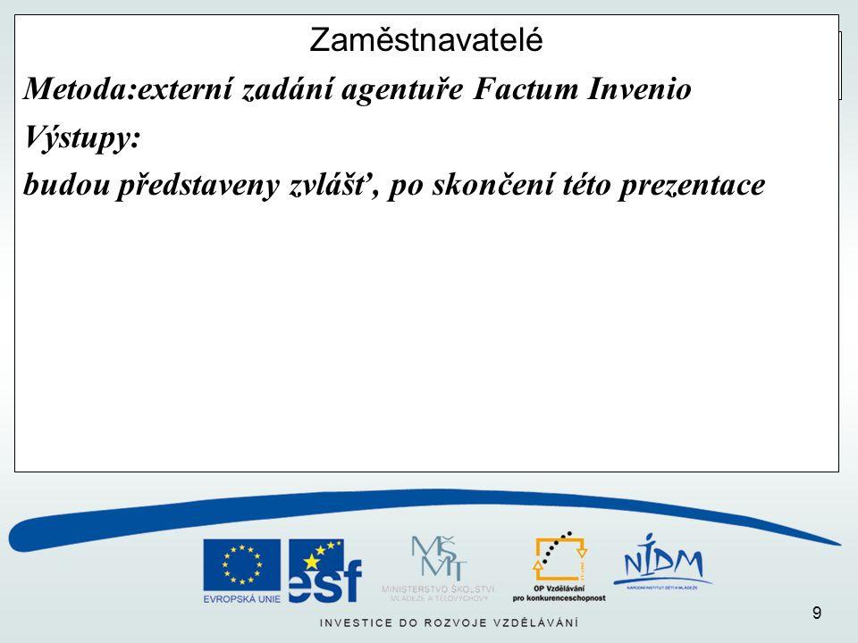 9 Zaměstnavatelé Metoda:externí zadání agentuře Factum Invenio Výstupy: budou představeny zvlášť, po skončení této prezentace