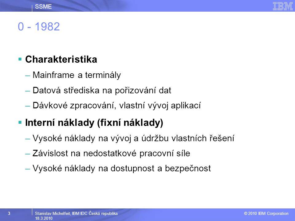 SSME © 2010 IBM Corporation 4Stanislav Michelfeit, IBM IDC Česká republika 18.3.2010 1999