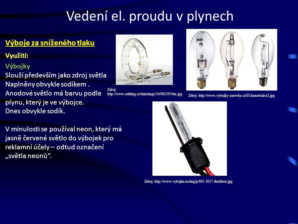 Vedení el. proudu v plynech Využití: Výbojky Slouží především jako zdroj světla Naplněny obvykle sodíkem. Anodové světlo má barvu podle plynu, který j