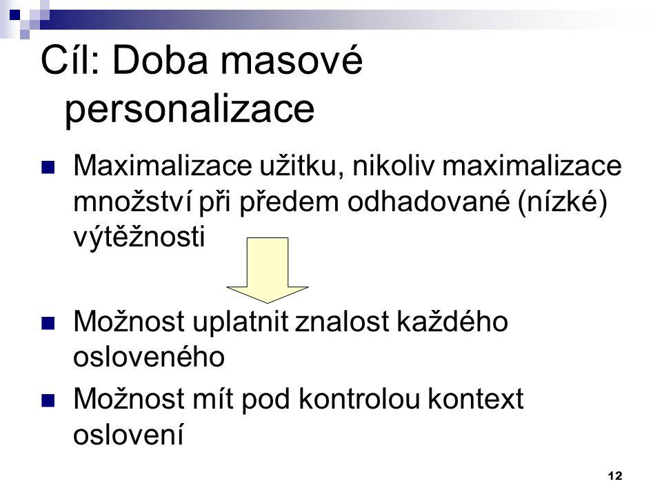 12 Cíl: Doba masové personalizace Maximalizace užitku, nikoliv maximalizace množství při předem odhadované (nízké) výtěžnosti Možnost uplatnit znalost
