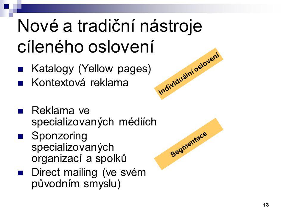 13 Nové a tradiční nástroje cíleného oslovení Katalogy (Yellow pages) Kontextová reklama Reklama ve specializovaných médiích Sponzoring specializovaných organizací a spolků Direct mailing (ve svém původním smyslu) Individuální oslovení Segmentace