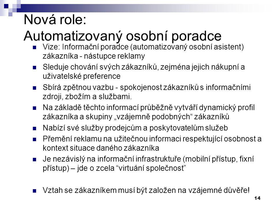 14 Nová role: Automatizovaný osobní poradce Vize: Informační poradce (automatizovaný osobní asistent) zákazníka - nástupce reklamy Sleduje chování svý