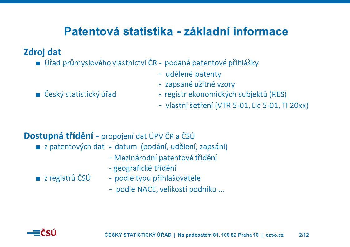 ČESKÝ STATISTICKÝ ÚŘAD | Na padesátém 81, 100 82 Praha 10 | czso.cz2/12 Zdroj dat ■ Úřad průmyslového vlastnictví ČR -podané patentové přihlášky - udělené patenty - zapsané užitné vzory ■ Český statistický úřad-registr ekonomických subjektů (RES) - vlastní šetření (VTR 5-01, Lic 5-01, TI 20xx) Dostupná třídění - propojení dat ÚPV ČR a ČSÚ ■ z patentových dat-datum (podání, udělení, zapsání) - Mezinárodní patentové třídění - geografické třídění ■ z registrů ČSÚ-podle typu přihlašovatele - podle NACE, velikosti podniku...