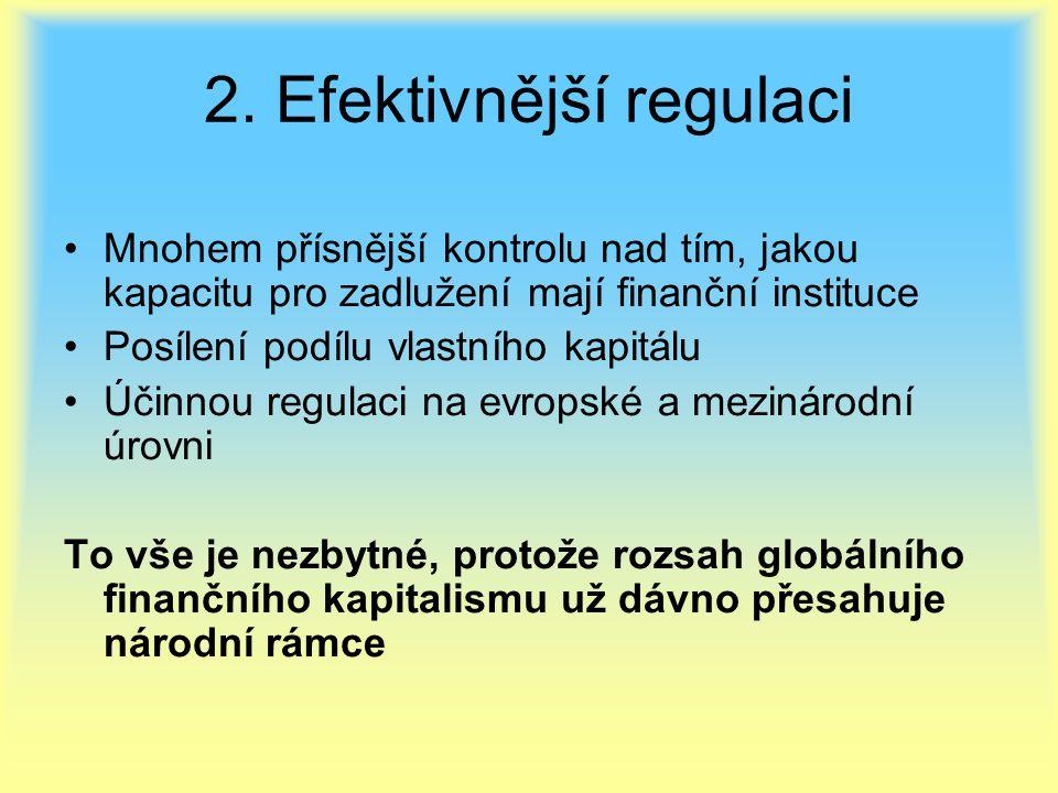 2. Efektivnější regulaci Mnohem přísnější kontrolu nad tím, jakou kapacitu pro zadlužení mají finanční instituce Posílení podílu vlastního kapitálu Úč