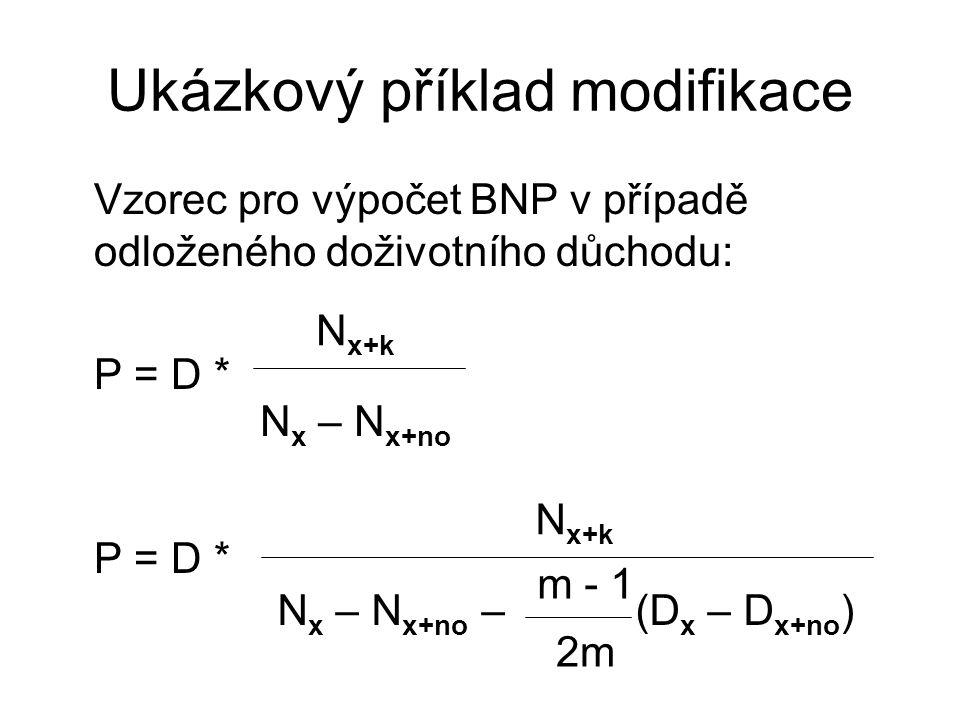 Ukázkový příklad modifikace Vzorec pro výpočet BNP v případě odloženého doživotního důchodu: P = D * N x+k N x – N x+no N x+k N x – N x+no – (D x – D x+no ) m - 1 2m