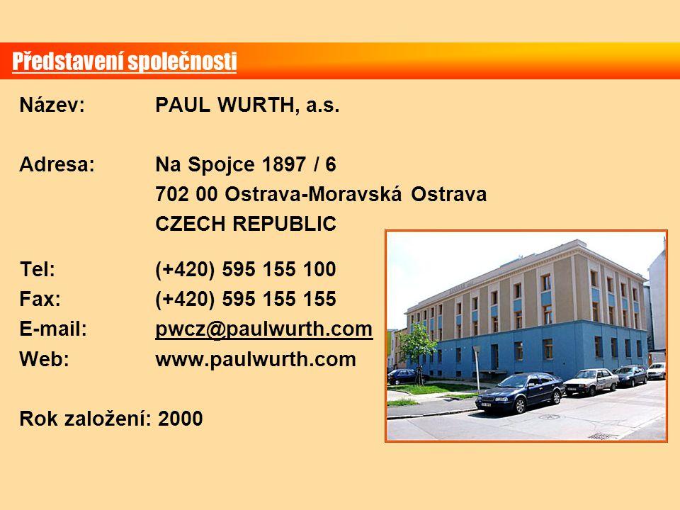 Představení společnosti Název: PAUL WURTH, a.s. Adresa:Na Spojce 1897 / 6 702 00 Ostrava-Moravská Ostrava CZECH REPUBLIC Tel:(+420) 595 155 100 Fax:(+