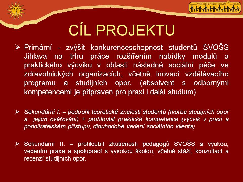 CÍLOVÁ SKUPINA  Studenti SVOŠS Jihlava - 126 denní forma studia - 84 dálková forma studia  Pedagogové SVOŠS Jihlava - interní vyučující - externí vyučující
