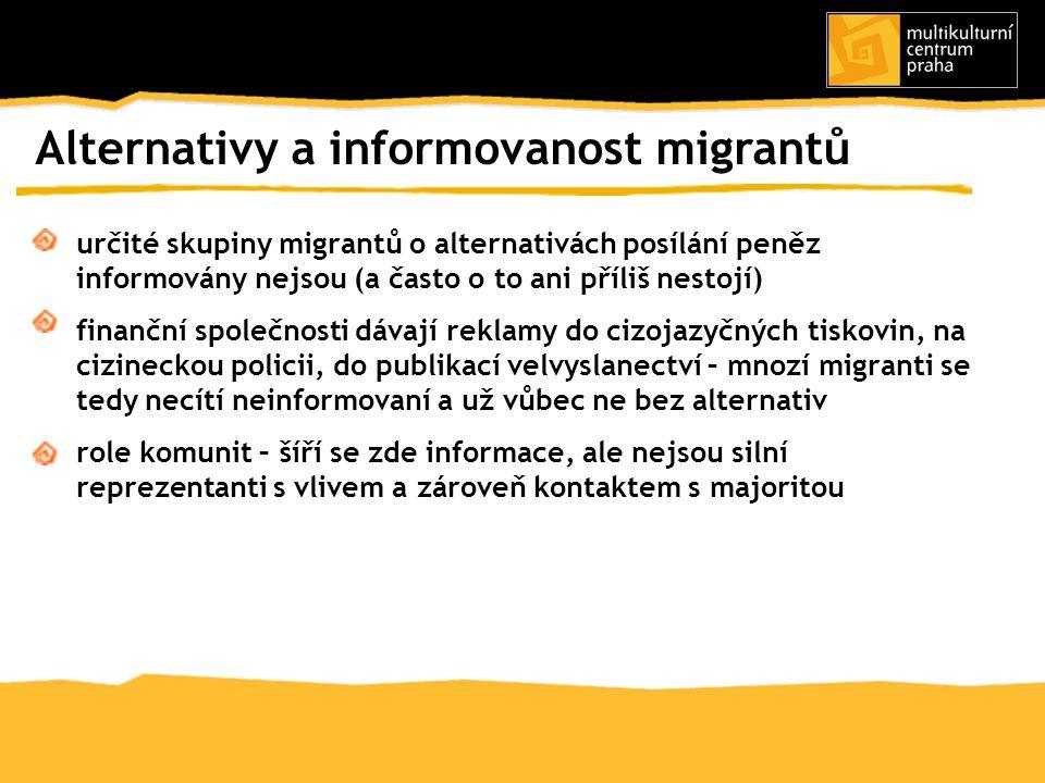 určité skupiny migrantů o alternativách posílání peněz informovány nejsou (a často o to ani příliš nestojí) finanční společnosti dávají reklamy do ciz