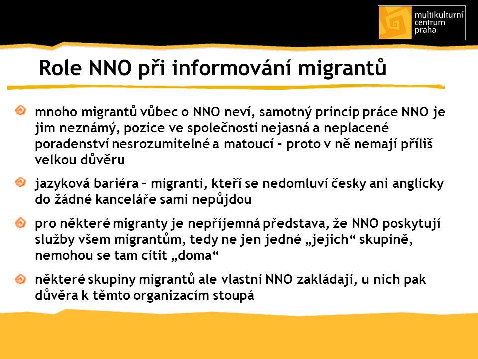 Role NNO při informování migrantů mnoho migrantů vůbec o NNO neví, samotný princip práce NNO je jim neznámý, pozice ve společnosti nejasná a neplacené