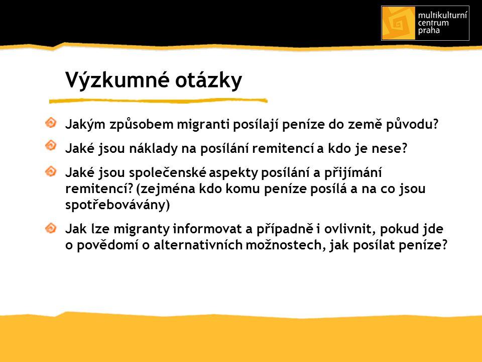1/zástupci českých NNO, které se zaměřují na pomoc a poradenství migrantům; 2/ zástupci organizací a sdružení imigrantů; 3/ imigranti, kteří posílají peníze do země původu Výběr respondentů Tři kategorie respondentů Státní občanství respondentů 5 hlavních státních občanství migrantů v ČR bez občanů EU: Ukrajina, Rusko, Moldavsko, Mongolsko a Vietnam + Bělorusko, Čína