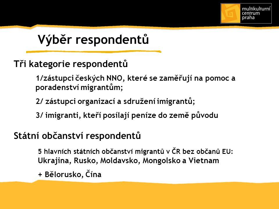 1/zástupci českých NNO, které se zaměřují na pomoc a poradenství migrantům; 2/ zástupci organizací a sdružení imigrantů; 3/ imigranti, kteří posílají