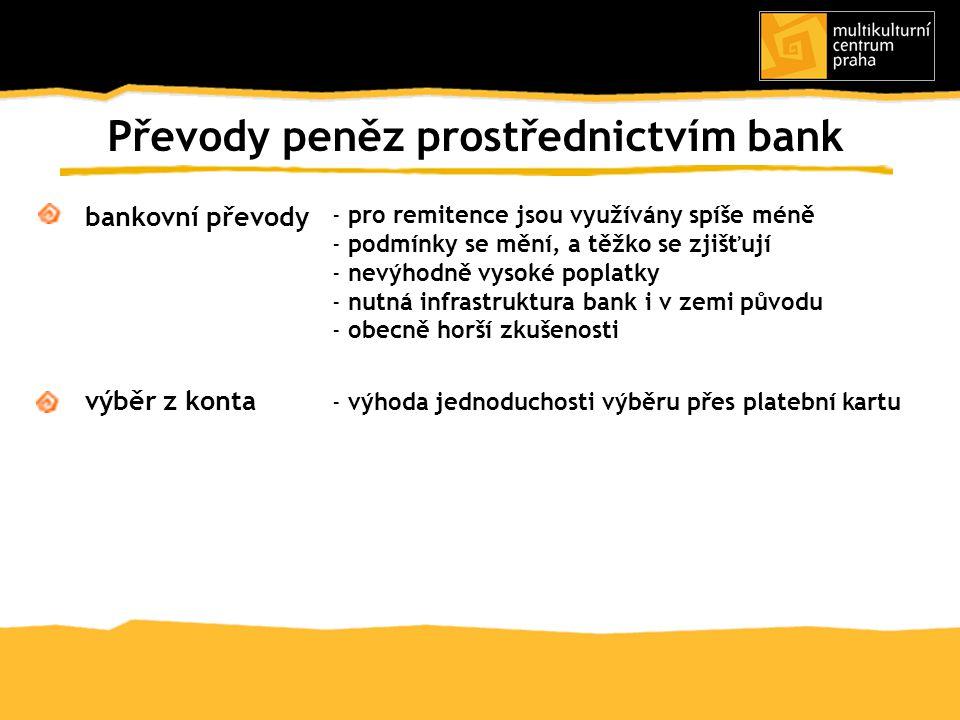 bankovní převody výběr z konta Převody peněz prostřednictvím bank - výhoda jednoduchosti výběru přes platební kartu - pro remitence jsou využívány spí