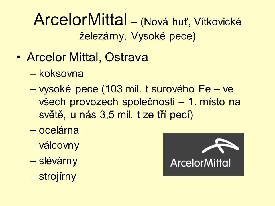 ArcelorMittal – (Nová huť, Vítkovické železárny, Vysoké pece) Arcelor Mittal, Ostrava –koksovna –vysoké pece (103 mil. t surového Fe – ve všech provoz