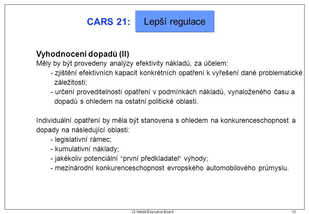 IG Metall Executive Board 13 CARS 21: Vyhodnocení dopadů (II) Měly by být provedeny analýzy efektivity nákladů, za účelem: - zjištění efektivních kapa