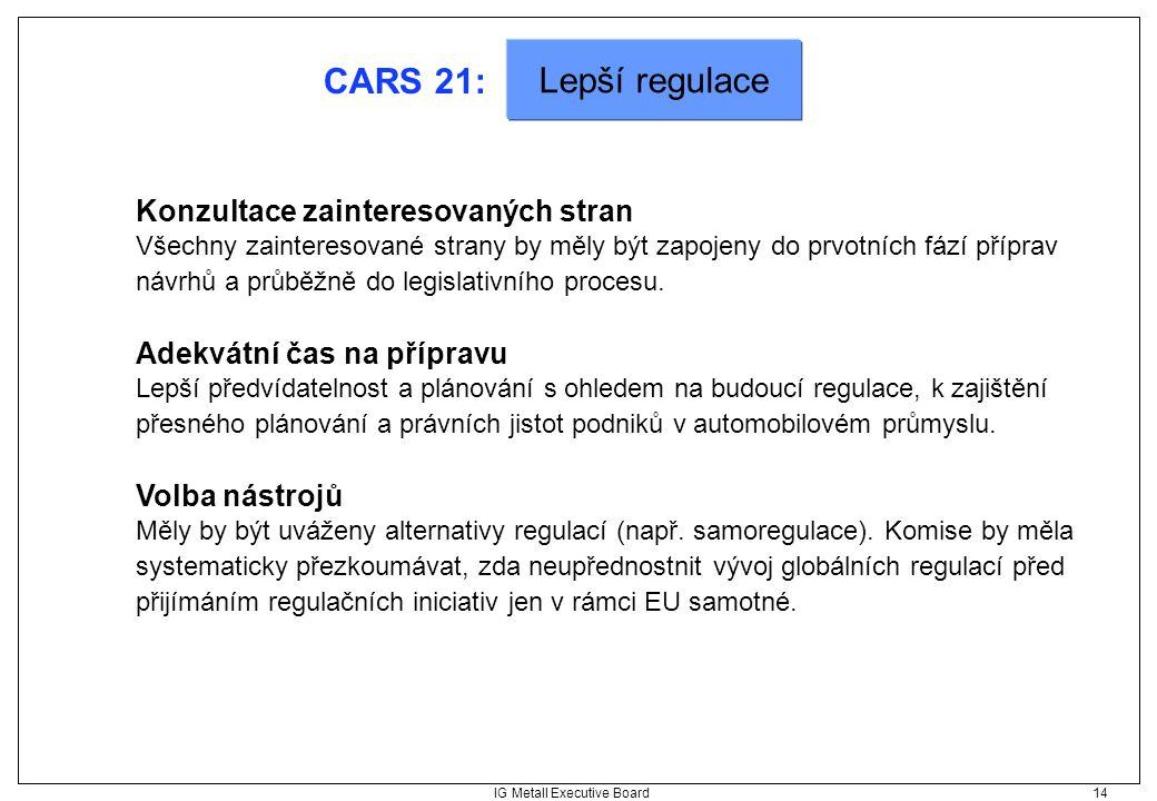 IG Metall Executive Board 14 CARS 21: Konzultace zainteresovaných stran Všechny zainteresované strany by měly být zapojeny do prvotních fází příprav n