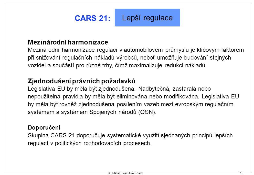 IG Metall Executive Board 15 CARS 21: Mezinárodní harmonizace Mezinárodní harmonizace regulací v automobilovém průmyslu je klíčovým faktorem při snižo