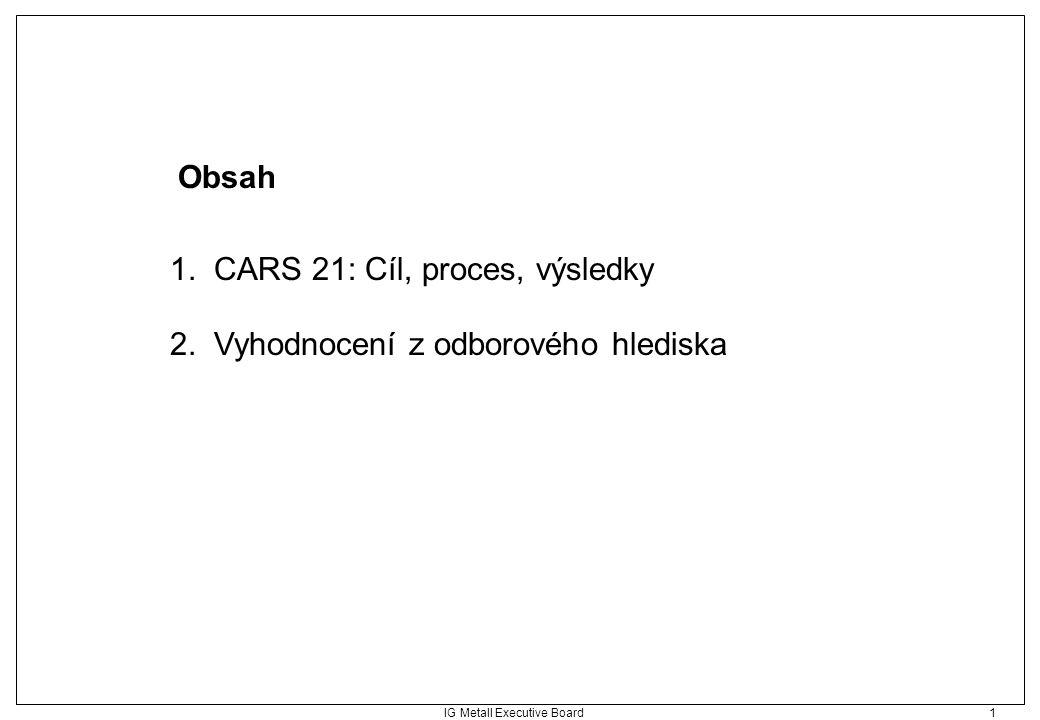 IG Metall Executive Board 1 Obsah 1. CARS 21: Cíl, proces, výsledky 2. Vyhodnocení z odborového hlediska