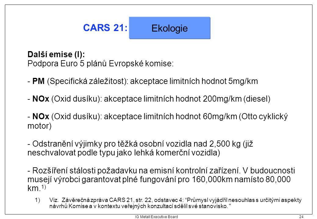 """IG Metall Executive Board 24 CARS 21: Ekologie 1)Viz. Závěrečná zpráva CARS 21, str. 22, odstavec 4: """"Průmysl vyjádřil nesouhlas s určitými aspekty ná"""